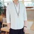 Estilo chinês camisa masculina 3/4 manga sólida casual streetwear homem camisa de linho de algodão roupas masculinas 2019 novo estilo chinês linho topo