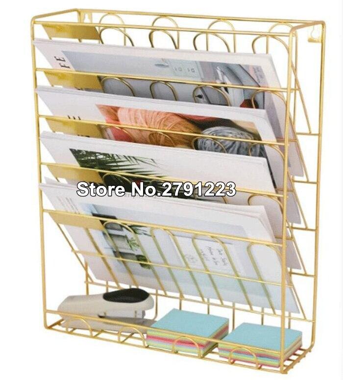 Европейские Простые золотые железные книжные полки настольные книги журнал стеллаж для хранения креативный стеллаж для хранения