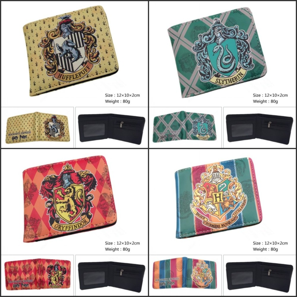 New Design Harry Potter Wallet Hogwarts Cartoon Wallet Gryffindor Slytherin Hufflepuff Anime Mens Wallets Coin Purse for Young wallet