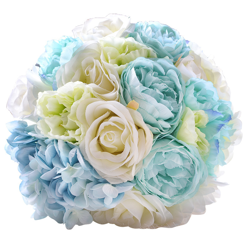 JaneVini Romantic Flowers Bouquets For Beach Wedding Light Blue Rose ...