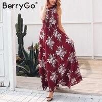 BerryGo Halter Backless Summer Dress Women Hollow Out Sleeveless Maxi Dress Elegant Floral High Waist Boho