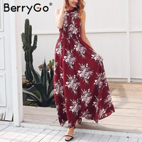 BerryGo Halter Backless Summer Dress Women Hollow Out Sleeveless Maxi Dress Elegant Floral High Waist Boho