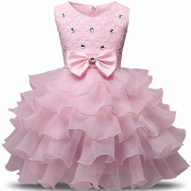 f4ecf9ae967 Newborn Baby Girl Dress Fancy Baby Party Frocks Flower Girl 1 Year Birthday  Dress Toddler Girl