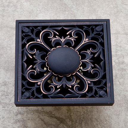 Drains Square Deodorant Floor Waste Drain Strainer Oil Rubbed Bronze 10cm Floor Cover Sink Grate Bath Accessories HJ-8711R modern 90 10 cm oil rubbed bronze style deodorization grate waste floor drain floor mounted