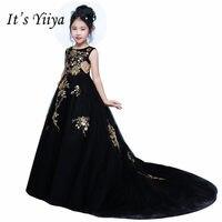 It's yiiya Sexy Off Shoulder Girl Dresses Princess Empire Grown High Grade Sequined Flowers Floor length Girls Dress MT013