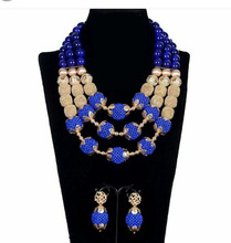 Fantastic Royal Blue African Beads Jewelry Set for Nigerian Wedding Duba Gold Beaded Statement Necklace Set