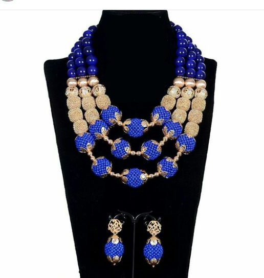 Fantastic Royal Blue African Beads font b Jewelry b font Set for Nigerian Wedding Duba font