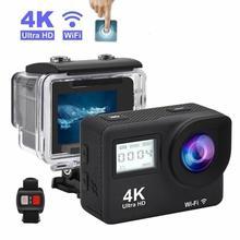 "4K 액션 카메라 2.0 ""터치 스크린 와이파이 듀얼 스크린 12MP 헬멧 카메라 30m DV 170 학위 와이드 앵글 렌즈 스포츠 캠"