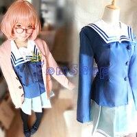 Anime Kyokai no Kanata (Beyond the Boundary) Kuriyama Mirai Cosplay Costume Japanese Girl's School Uniform and Sweater