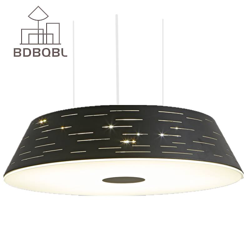 BDBQBL Modern LED Pendant Light Nordic Restaurant Lights Loft Round Dining Room Bedroom Pendant Lamp Hanging Lights White/Black bdbqbl modern iron pendant light for living room bedroom foyer study hanging lights white led pendant lamp lighting fixture