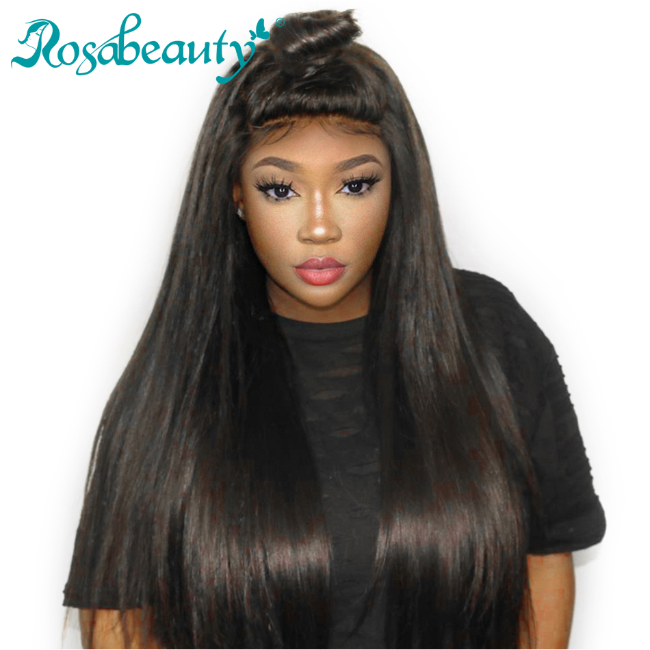Full Lace Human Hair Wigs Straight Hair Pre plucked With Baby Hair Rosabeauty 14 24Inches Remy