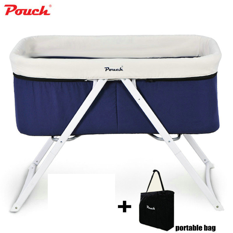 Pouch Baby Travel Crib, Foldable Infant Cot With Portable Bag, Newborn Baby Travel Bassinet orbit baby люлька колыбель orbit baby g3 bassinet