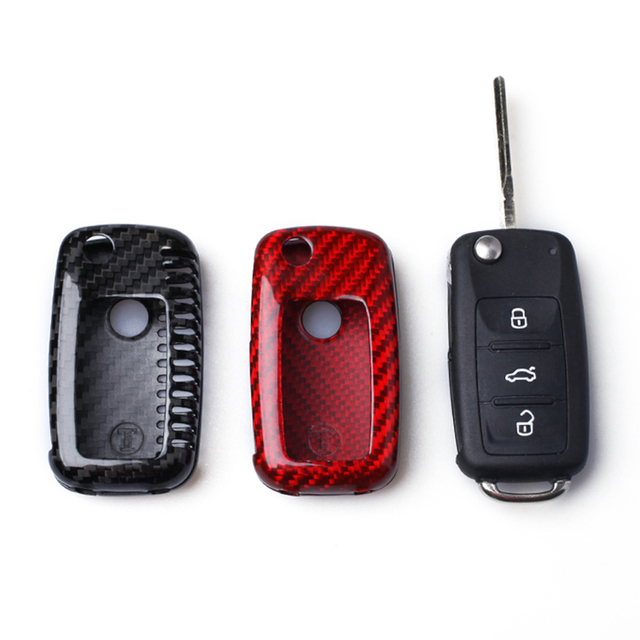Real Carbon Fiber Remote Fold Key Fob Case Shell Cover For Volkswagen Vw Golf 6 Vi