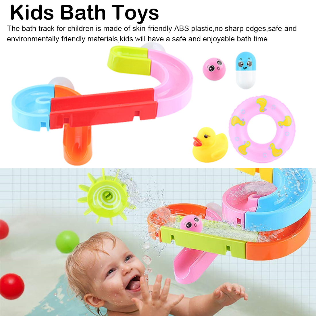 Creative Assembling Water Play Toys Set Suction Cup Orbits Baby Bath Toys Shower Games Swimming Pool Waterfall Toys Water Toy image