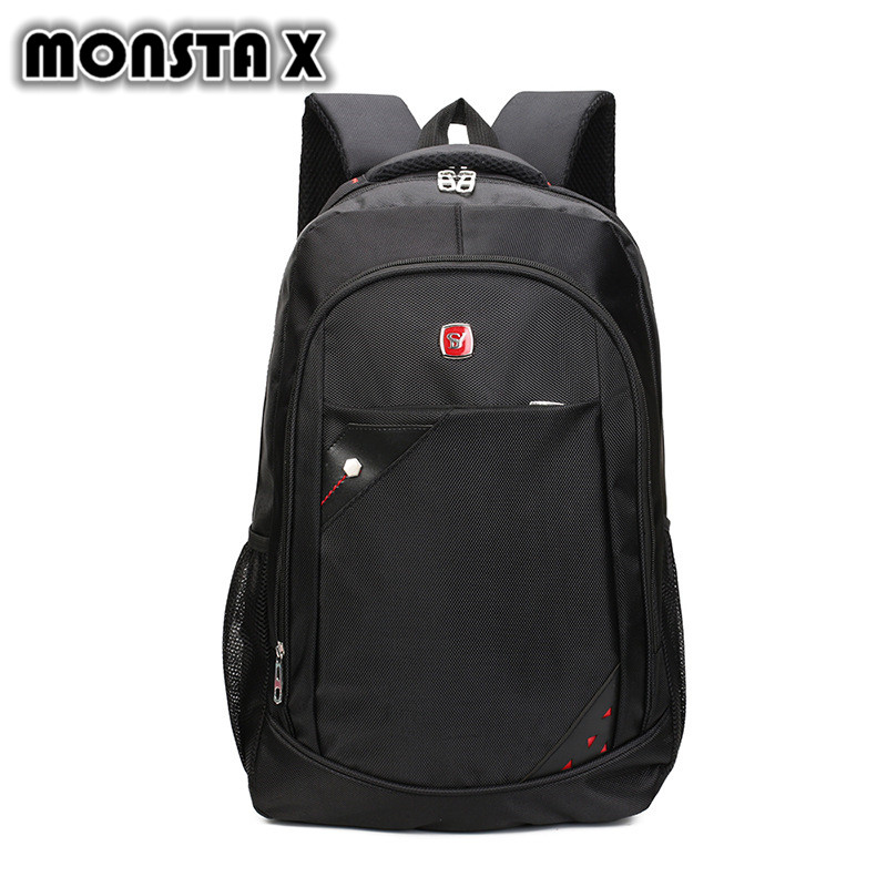 MONSTA X Waterproof 15 Inch Laptop Backpack Black Leisure Large Oxford Fabric School Backpacks Mens School Bags for Teenagers