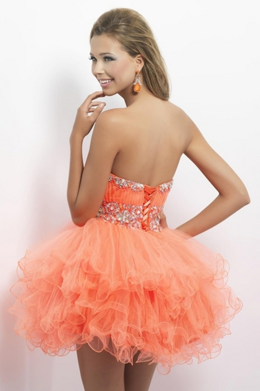 Peach Sweetheart Short Prom Dresses Doll