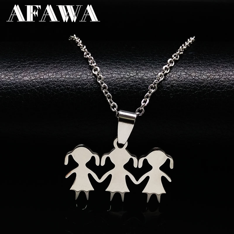 3 Girls Love Family Necklace Stainless Steel Parent Child Gis