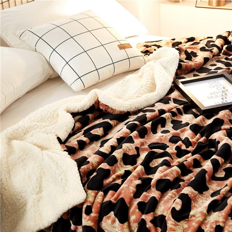 Automne et hiver simples couvertures en cachemire épaissir flanelle Double velours draps de lit cadeau zèbre motif léopard couverture - 4