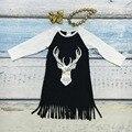 Весна новорожденных девочек новый хлопок дикие и свободные черные платья sash кисточкой платье с длинными рукавами с соответствующими лук и ожерелье оленей