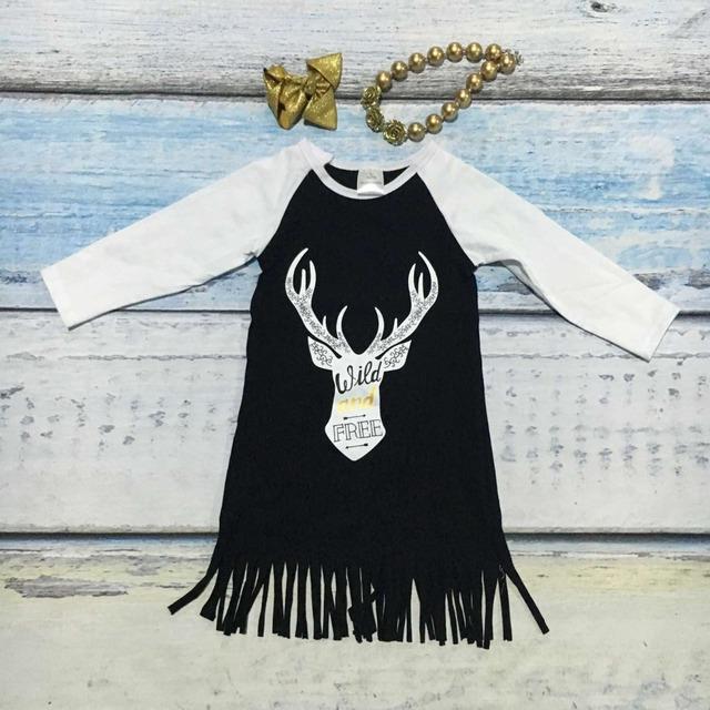 Primavera meninas do bebê novo de algodão selvagem e livre vestidos pretos sash tassel vestido de mangas compridas com curva de harmonização e colar renas
