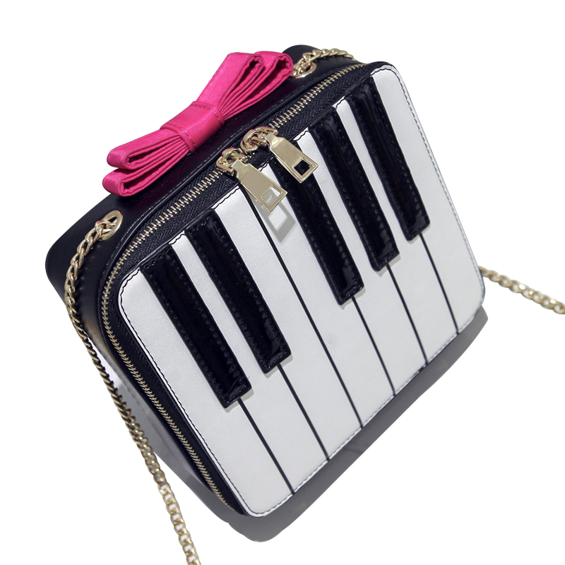 2018 Summer New Womens Bag Personalized Piano Bag Korean Bow Small Hit Color Shoulder Bag Chain Messenger Bag