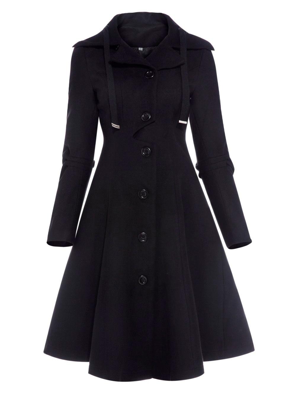2017 для женщин пальто осень черный Винтаж Готический трапециевидной формы Элегантные зимние Асимметричная гот кружево до натуральн