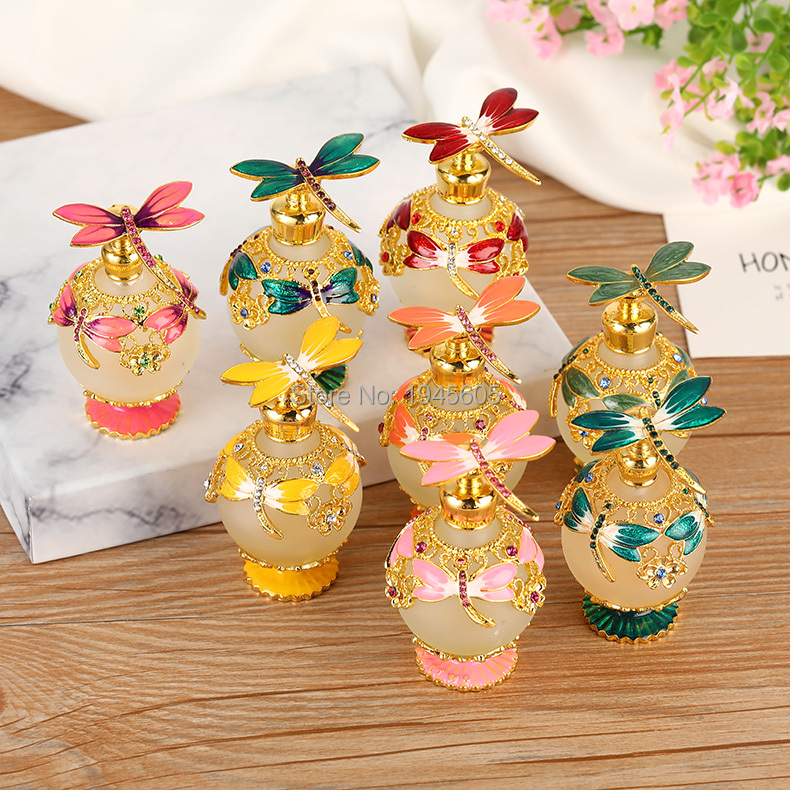 Perfume Bottle Retro Metal Empty Dragonfly Ball Round Beautiful Adornment Crafts Travel Gift Makeup For Birthday Gift