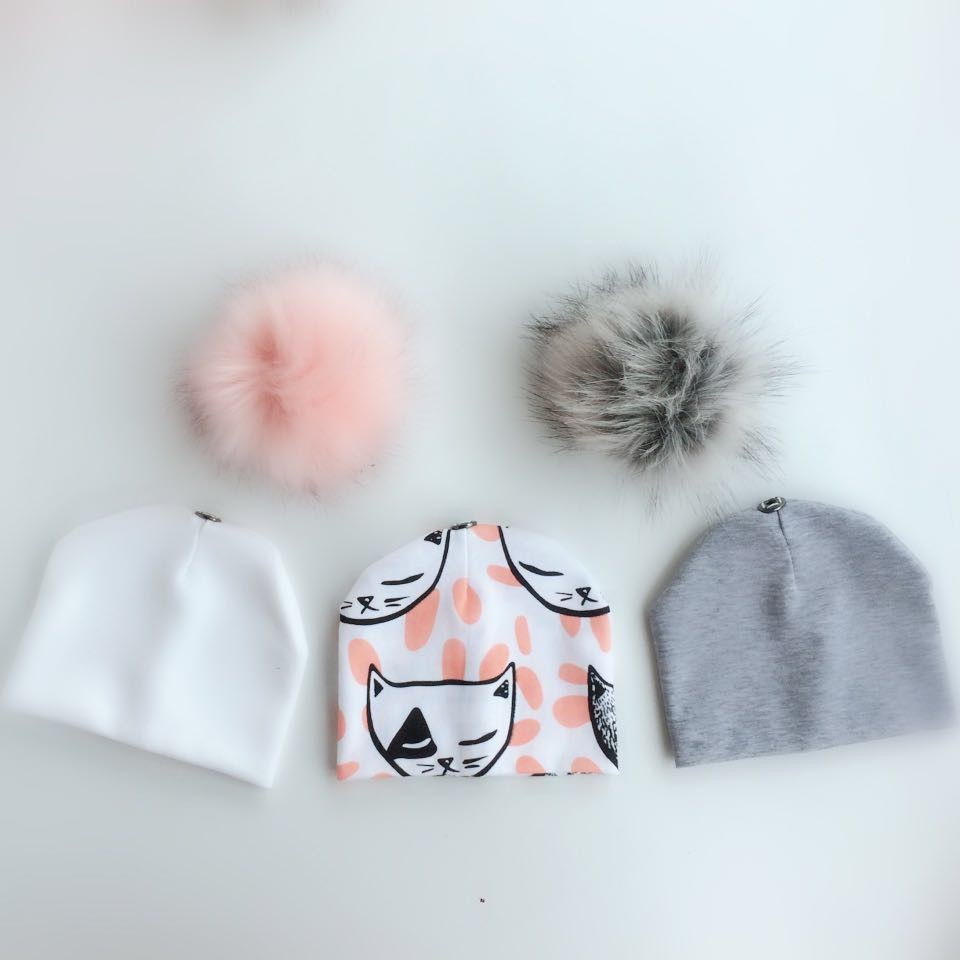 3 piece /set newborn baby animal cat childrens hat with faux fur pom pom photograph props stuff for boy and girls born set kids