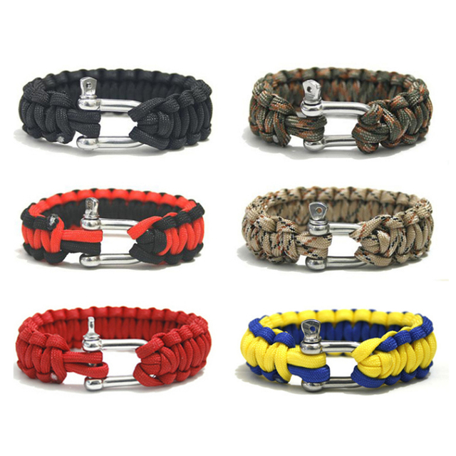 Edc Outdoor Tactical Paracord Bracelet Multifunction Steel Buckle