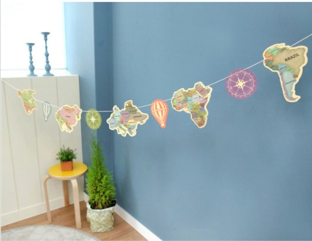 World Map Party Supplies.Travel Around The World Colorized Retro Map Pattern Flags Kids
