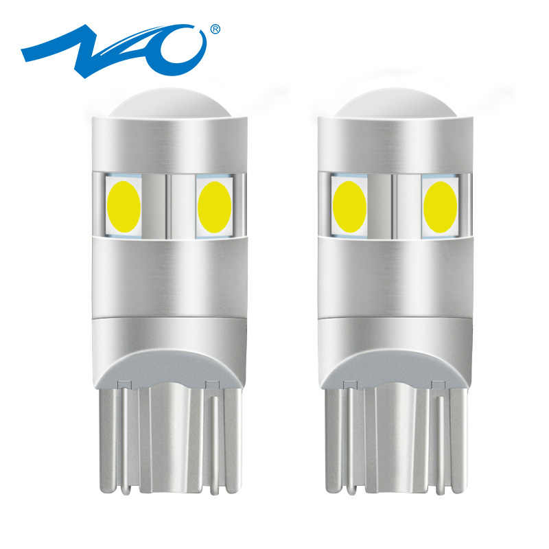 NAO W5W LED Bright T10 LED Bulb 5 SMD 3030 Car Interior Light 1.6W 186 194 12V COB 6000K White Amber Clearance Lights