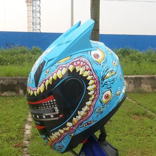 MALUSHEN Luminous Motorcycle Helmet Moto Helmet Moto Corn Helmet Personality Full Face Motor Helmet Pure color Black White Pink