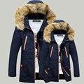 Мужская зимняя Толстовки стеганые куртки теплые мужчины пальто Зима хлопка ватник военная мужской пальто с меховым капюшоном