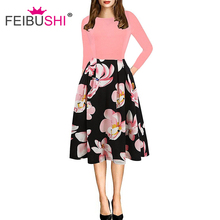 FEIBUSHI Womens Elegant Vintage Summer Dress Print Belted Tunic Pinup Patchwork Work Office Casual Party A Line Skater Dress christmas print skater party dress