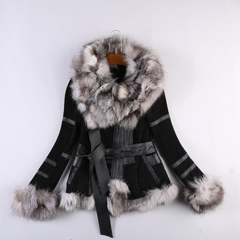 Genuine Leather Jacket For Women Winter Real Fox Fur Coat Gl0006