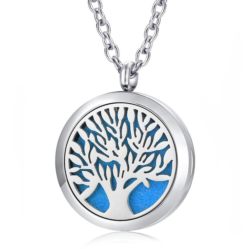 Tree Of Life Aroma Locket Jewelry Silver 316L Stainless Steel Aromatherapy Essential Oil Diffuser Lockets Pendant Necklace