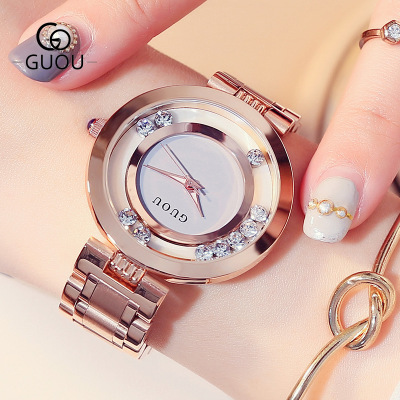 GUOU New Famous Brand Rose gold Quartz Fashion Women Watches Shining crystal Luxury Ladies Full Steel Waterproof Watch relogio