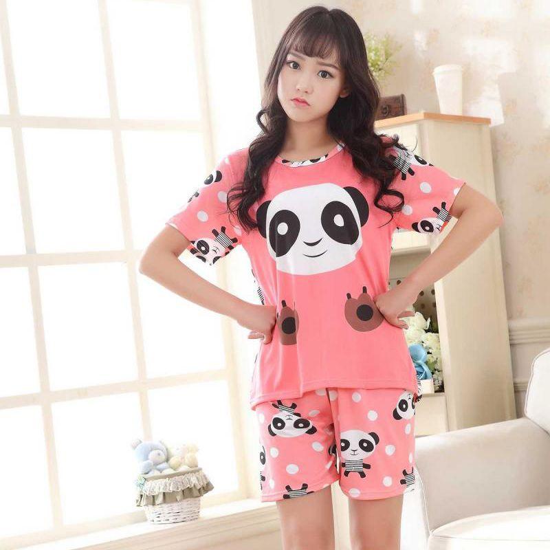 Женские пижамы хлопковые рубашки с коротким рукавом и брюки с животным принтом пижамный комплект ночное белье женские сексуальные летняя д...
