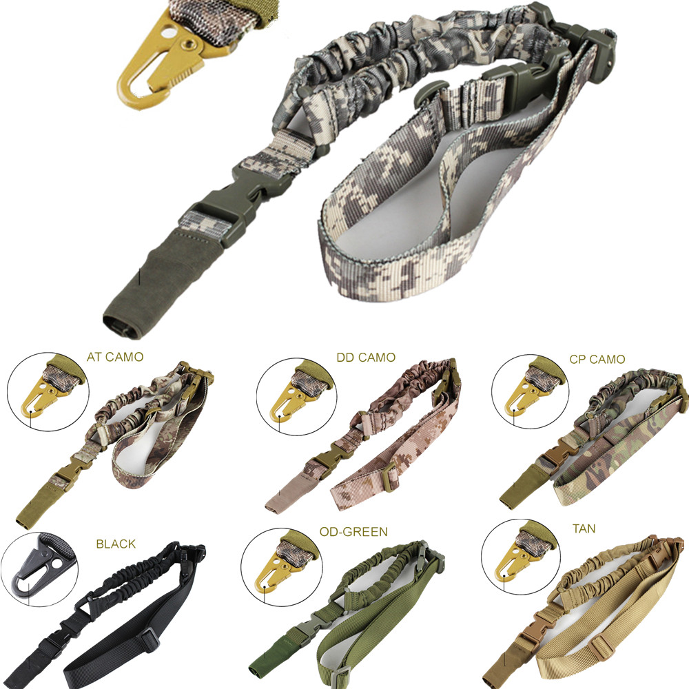 Universal Quick Detach Tactical One Point Multi Elastic Sling Bungee Strap Snap Hook