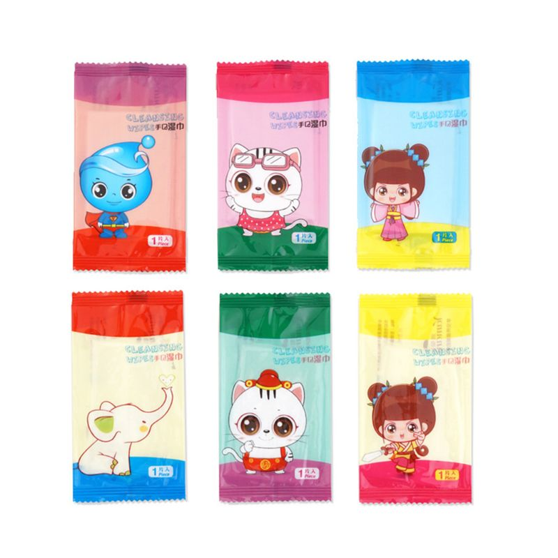 10Pcs/Set Disposable Restaurant Internet Bar Dining Non-Woven Fabric Wet Wipes Tissue Towel Cute Cartoon Logo Individually Wrapp