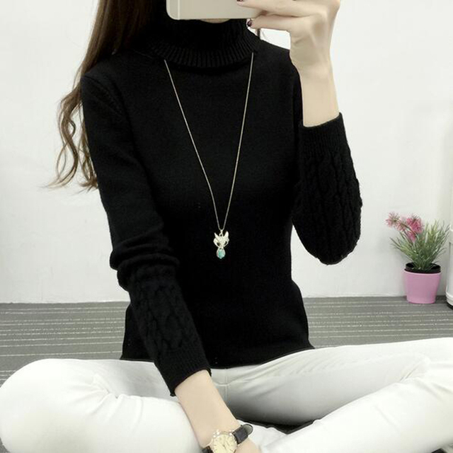 Women Turtleneck Winter Sweater Women 2017 Long Sleeve Knitted Women Sweaters And Pullovers Female Jumper Tricot Tops LY571