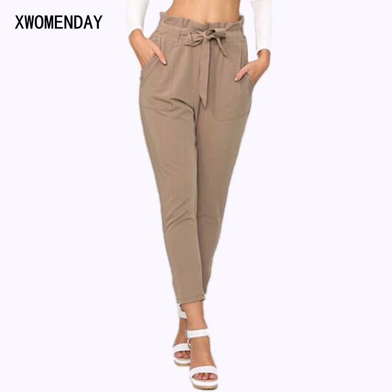 Women High Waist Harem Pants Bow Tie Drawstring Elastic Waist Pockets Casual Pleated Trousers Pantacourt Pantalon Femme Price $8.59