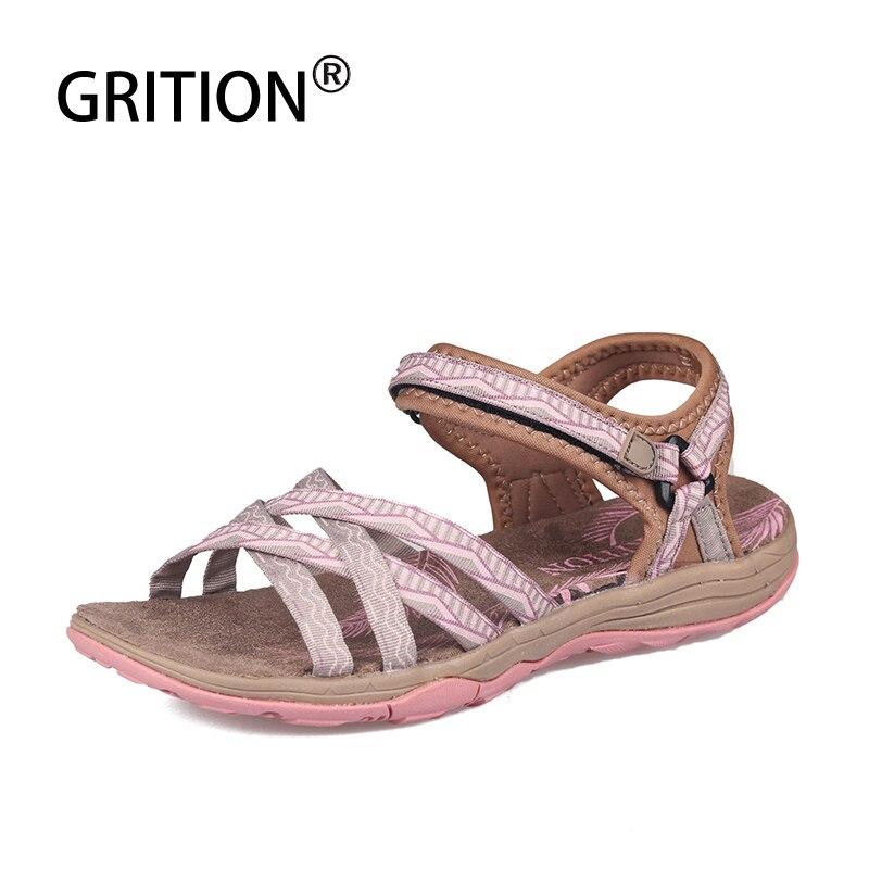 GRITION Beach Sandals Women Summer Outdoor Flat Sandals Ladies Outdoor Beach Shoes Lightweight Breathable Walking Hiking Sandals