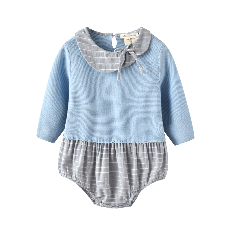 New Arrivals 2017 Autumn Newborn baby girl bodysuit long sleeve Knitted Baby Clothes 0 18M