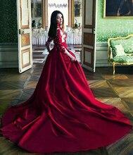 Vintage High Neck Ballkleid Prom Kleider 2016 Appliques Drei Viertel Sleeve Formale Abendkleider Kapelle Zug