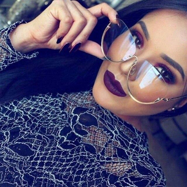 a38653bab8bbf Rimless Cat Eye Women Sunglasses Transparent Fashion Brand Designer  Sunglasses Lady Clearly Large Metal Frame UV400  248147