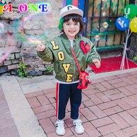 Autumn Spring letterr love panel olive baby boys bomber jacket kids brand coat children fashion blazer 2 to 10 yrs