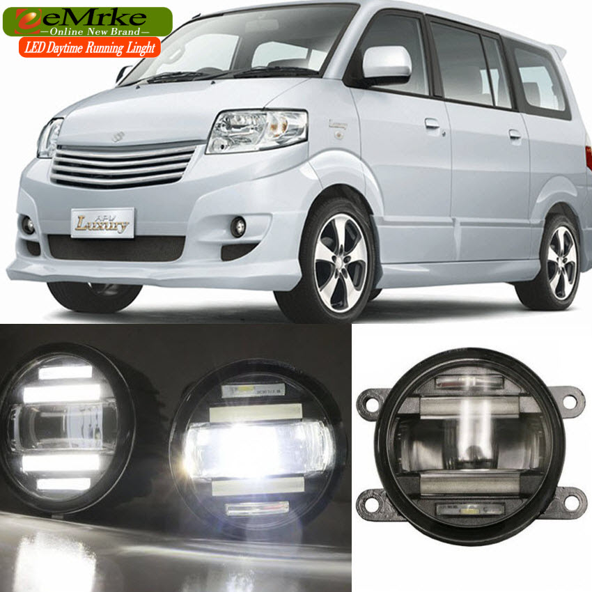 eeMrke Xenon White High Power 2in1 LED DRL Projector Fog Lamp With Lens For Suzuki APV Arena 2007-2015 eemrke xenon white high power 2in1 led drl projector fog lamp with lens for suzuki sx4 2008 2016