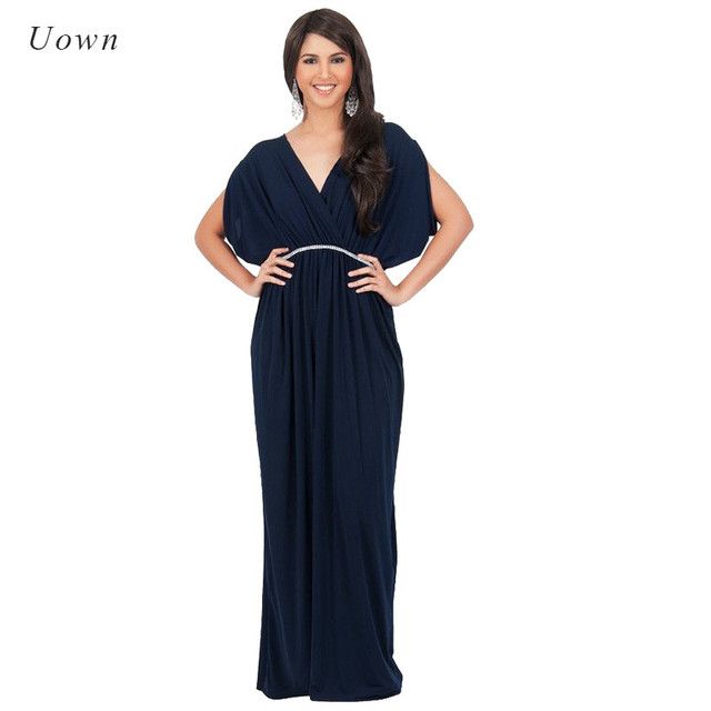 6504638dc06 Fashion Women Red Navy Black Long Maxi Dress Sequin Plunge V Neck Summer  Party Floor Length Dress Solid Plus Size Prom Vestidos