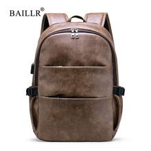 BAILLR PU Leather Fashion Backpack Classic Original men Students Travel School Bags 2019 New Vintage Bag Man Business